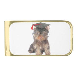 Graduation Yorkshire Terrier Gold Finish Money Clip