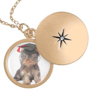 Graduation Yorkshire Terrier Gold Plated Necklace