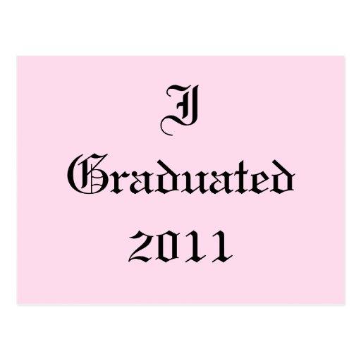 Gradué 2011. Rosa y negro. Personalizado Postal