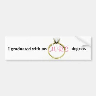 Gradué con mi grado de M.R.S. Pegatina Para Auto