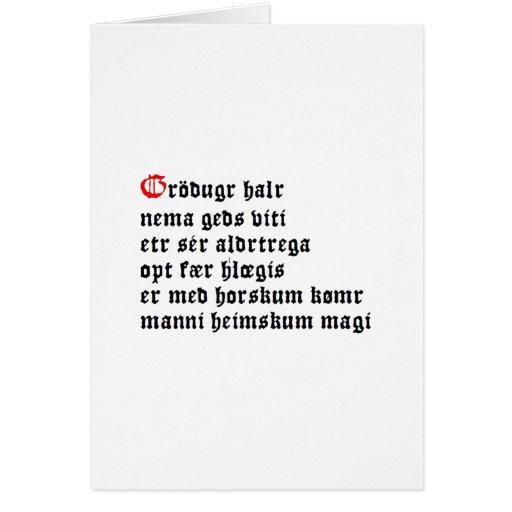Gráðugr Halr (Hávamál, estrofa 20) Tarjeta Pequeña