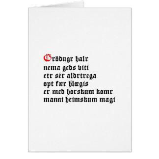 Gráðugr Halr (Hávamál, Stanza 20) Card