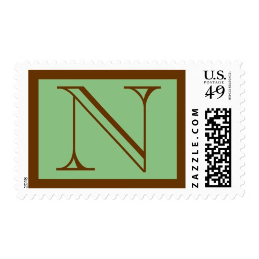 Gradutation Party Initial N Green Brown Stamp