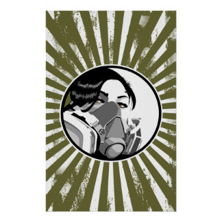 Graf mask with grunge blast lines poster