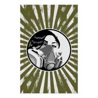 Graf mask with grunge blast lines posters