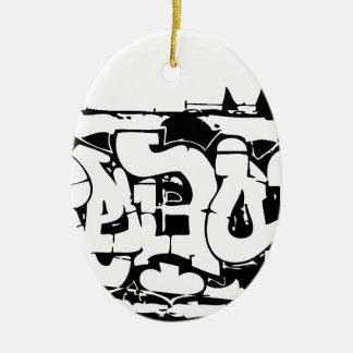graf rebelde adorno navideño ovalado de cerámica