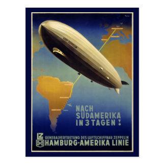 Graf Zeppelin Vintage Poster Restored Postcard