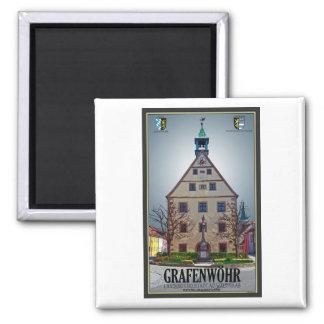 Grafenwöhr - Rathaus 2 Inch Square Magnet