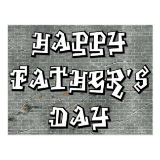 Graffetti Writing on the Wall - Happy Father's Day Postcard
