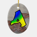 GRAFFITI #1 A Double-Sided OVAL CERAMIC CHRISTMAS ORNAMENT