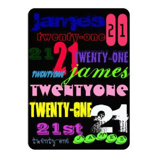 Graffiti 21st on Black 4.5x6.25 Paper Invitation Card