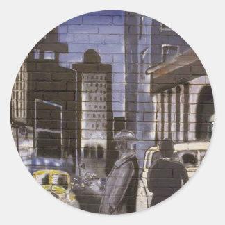 Graffiti 2 vert classic round sticker