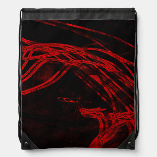 Graffiti Abstract Lines blood red Drawstring Backpack
