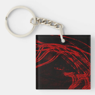 Graffiti Abstract Lines blood red Keychain