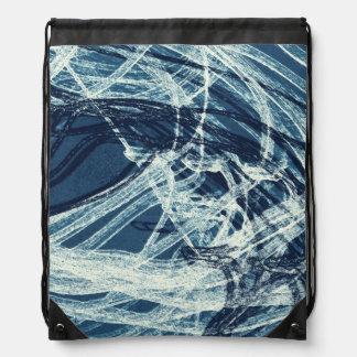 Graffiti Abstract Lines blue Drawstring Bags