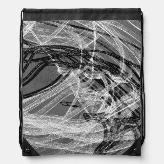 Graffiti Abstract Lines grey Drawstring Backpack