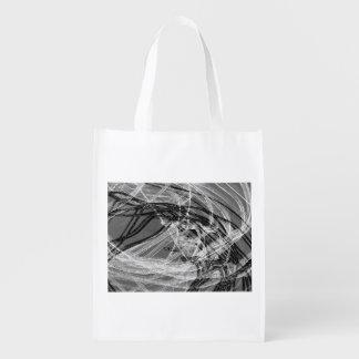 Graffiti Abstract Lines grey Reusable Grocery Bag