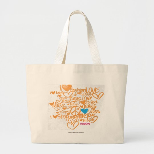 Graffiti Aqua/Orange Large Tote Bag