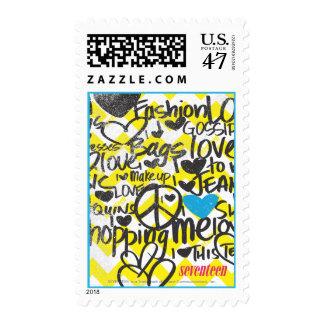 Graffiti Aqua Postage Stamp