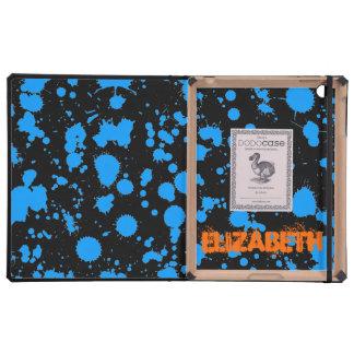 Graffiti Art Black and Blue 90s Splatter Paint iPad Cover