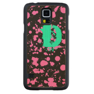 Graffiti Art Black and Fuschia 90s Splatter Paint Carved® Maple Galaxy S5 Slim Case