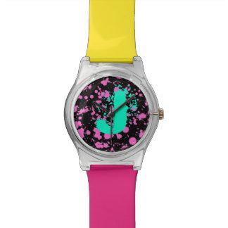 Graffiti Art Black and Fuschia 90s Splatter Paint Wrist Watch