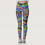 "Graffiti Art Leggings, Black Colorful Leggings<br><div class=""desc"">Check out these awesome leggings. All colors,  pink,  purple,  green,  teal,  turquoise,  black and white with all &quot;artist terms&quot; such as &quot;create&quot; &quot;draw&quot; &quot;love&quot; &quot;graffiti&quot; &quot;street art&quot; &quot;wall art&quot; and more.</div>"