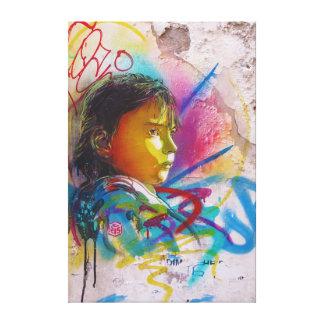 Graffiti Art of a Little Brunette Girl's Face Gallery Wrapped Canvas