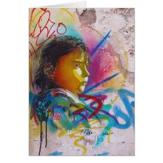 Graffiti Art of a Little Brunette Girl's Face Greeting Card