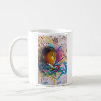 Graffiti Art of a Little Brunette Girl's Face Classic White Coffee Mug