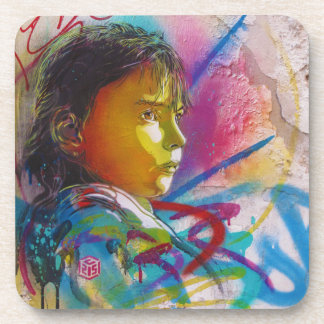 Graffiti Art of a Little Brunette Girl's Face Drink Coasters