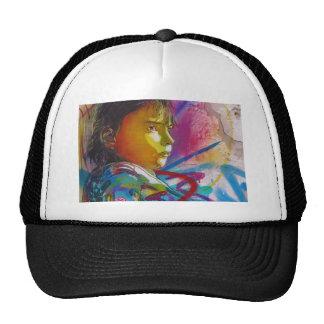 Graffiti Art of a Little Brunette Girl's Face Trucker Hat