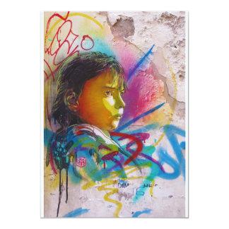 Graffiti Art of a Little Brunette Girl's Face 5x7 Paper Invitation Card