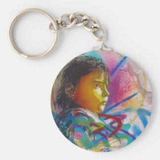 Graffiti Art of a Little Brunette Girl's Face Basic Round Button Keychain