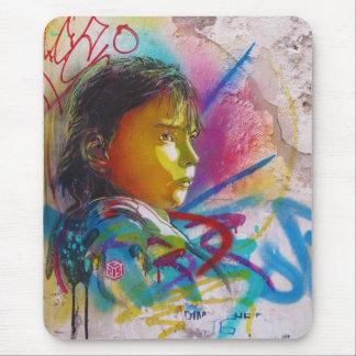Graffiti Art of a Little Brunette Girl's Face Mouse Pad