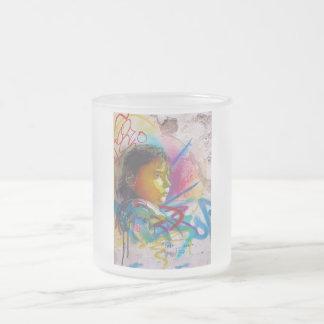 Graffiti Art of a Little Brunette Girl's Face 10 Oz Frosted Glass Coffee Mug