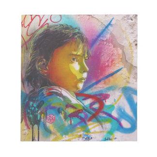 Graffiti Art of a Little Brunette Girl's Face Scratch Pad