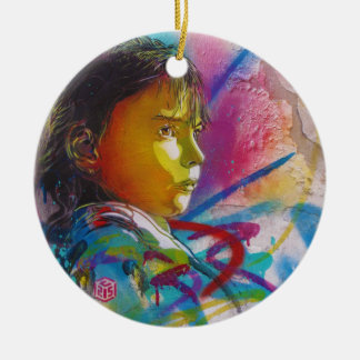 Graffiti Art of a Little Brunette Girl's Face Double-Sided Ceramic Round Christmas Ornament