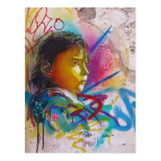 Graffiti Art of a Little Brunette Girl's Face Postcard