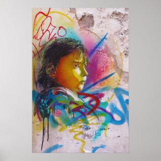 Graffiti Art of a Little Brunette Girl's Face Poster