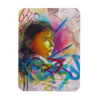 Graffiti Art of a Little Brunette Girl's Face Rectangular Photo Magnet
