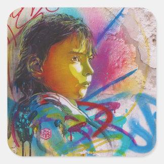 Graffiti Art of a Little Brunette Girl's Face Square Sticker