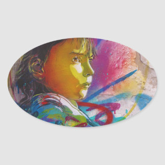 Graffiti Art of a Little Brunette Girl's Face Oval Sticker