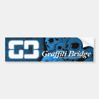 Graffiti Bridge Bumper Sticker Blue Skulls
