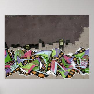 Graffiti - City in Plaid Print