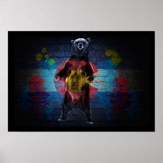 Graffiti Colorado flag bear grunge poster