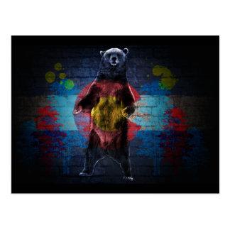 Graffiti Colorado flag grunge bear postcard
