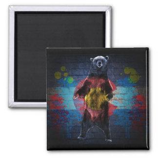 Graffiti Colorado flag grunge bear square magnet