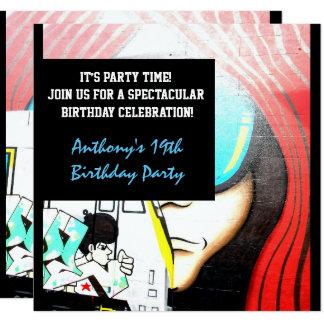 Graffiti Cool Face-2 Birthday Invitation