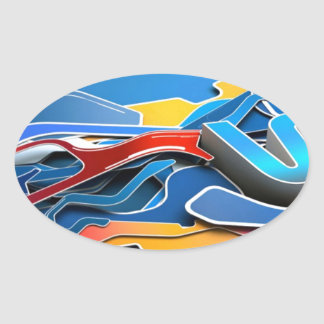 Graffiti Designed iPhone case with a stylish blue Oval Sticker